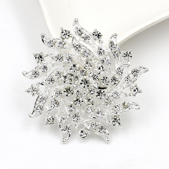 Wholesales Custom Metal Silver Jewelry Broches Flower Pin brooches Crystal Rhinestone Brooch For Clothing Decoration