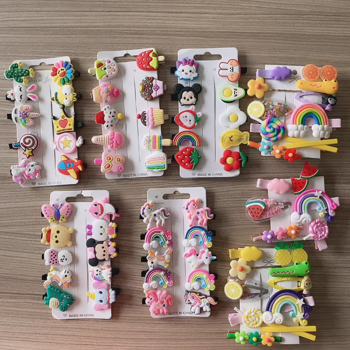 Tracy & Herry Hot Sale Candy Color Solid Ribbon Flower BB Baby Snap Hair Clips for Baby Girls Kids Hair Accessories