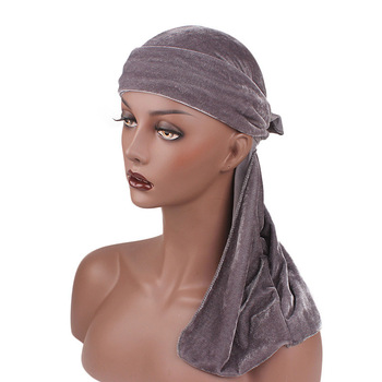 Wholesale Custom Muslim Women Men Durag Bandanas Caps Solid Color Silky Durag