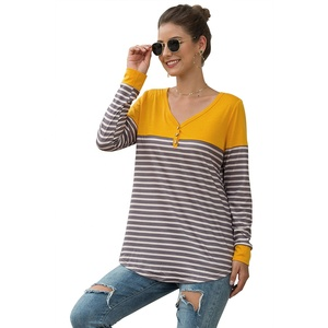 2019 hot selling winter women's autumn new V-neck knitted chiffon blending slim striped stitching button T-shirt tops