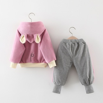 Two-piece set of female baby winter sweater fleece long sleeve suit casual personality fashion baby children's clothing
