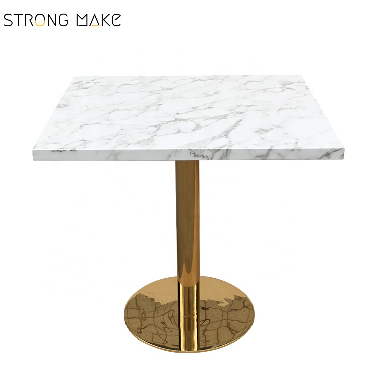 Modern restaurant gold base <strong>square</strong> white marble top <strong>dining</strong> <strong>table</strong>