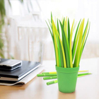 35 pieces Amazon hot sale Originality Office stationery Leaf Pen Silicone green grass leaf shaped ball point pen