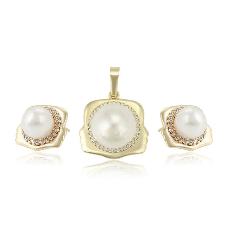 65683 xuping Jewelry 2020 fashion pearl earring and necklace set