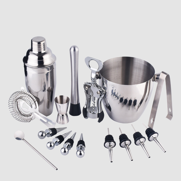 Cocktail Shaker Bar Set 16 Piece, Stainless Steel Professional Bar Tools Set for Bar and Home Martini Shaker, Big Ice Bucket,etc