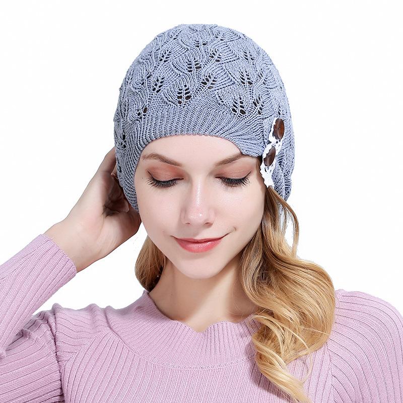 Custom Warm Hats Winter lace button women fashion Candy Color  Knit Cap Solid Colour Cold Cap Warm Hat