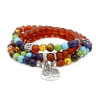 Hot sale European red agate colorful chakra buddhist jewelry beaded bracelets