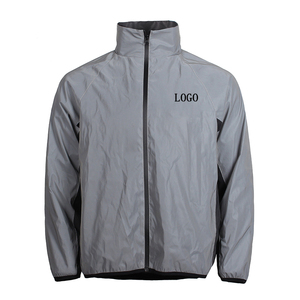 Custom print logo fashion polyester windbreaker safety reflective jacket for men