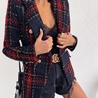 Wholesale custom made fashion tweeds blazer women plaid /check blazer double breasted blazer