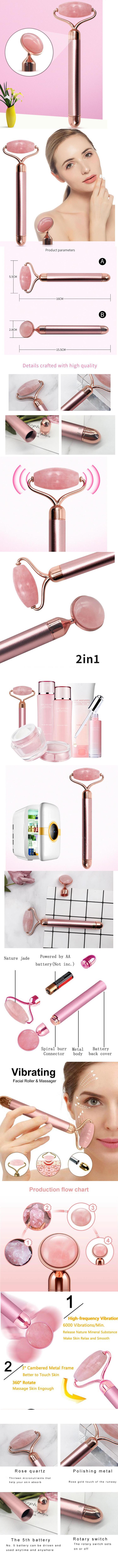 Jade Roller Vibration Energy Beauty Bar Massager 24K Gold Facial Jade Quartz Beauty Bar