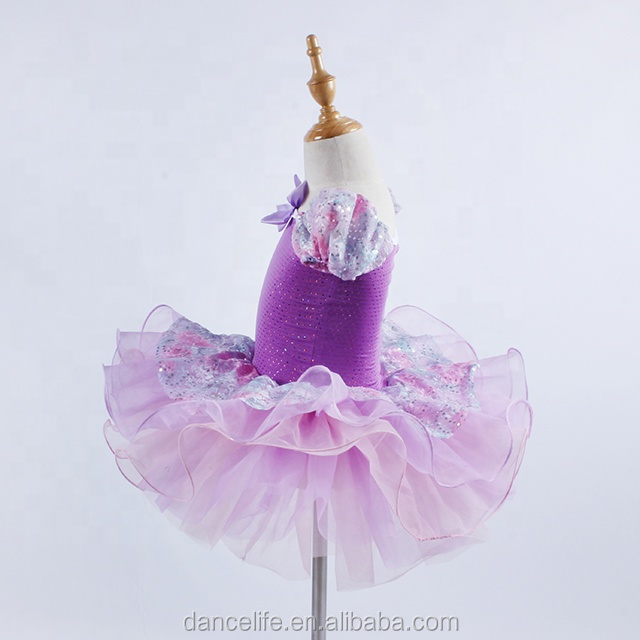 DL013  Flower Glitter Children Dancing skirt, stage performance ballet tutu Purple girls ballet tutu skirt