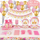Nicro 192 Pcs Kids Birthday Party Decorations Set Rainbow Unicorn Party Supplies