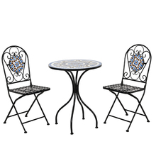 Outdoor Furnitur Meja dan Kursi Set <span class=keywords><strong>Art</strong></span> Logam Mosaik Furniture