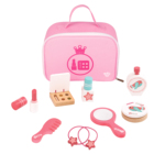 2020 New Design mini Wooden children's Pink kids makeup kits toy for girls cosmetic