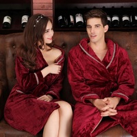 Vintage Luxury Women Men Lovers' Mr And Mrs Polyester Bathrobe Bath Robe