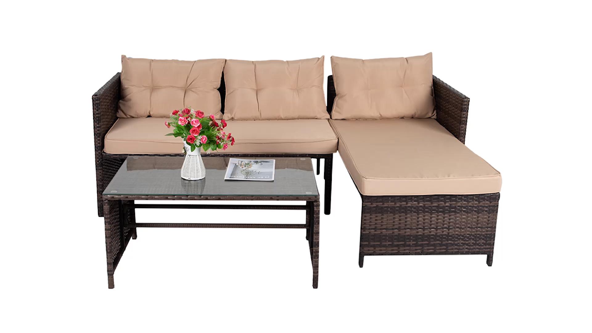 Patio al aire libre muebles de sofá de ratán de ocio muebles de jardín con cojines al aire libre muebles de jardín
