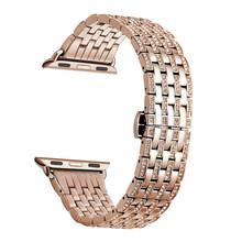 Роскошный чехол со стразами + ремешок из нержавеющей стали для Apple Watch Series 5, 4, 3, 2, 1, ремешок для iWatch 38 мм, 42 мм, 40 мм, 44 мм, женский браслет(Китай)