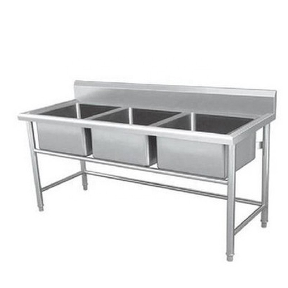 high quality Stainless Steel triple sink table bench
