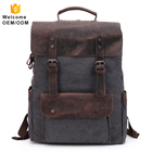 Mens Washed Canvas Genuine Leather customize logo rucksack retro vintage cotton laptop custom school canvas backpack for men
