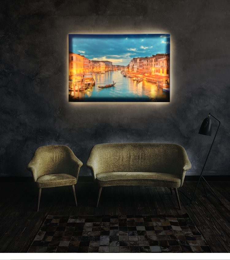 Beautiful Night City Scenery Digital Painting Contemporary Art Canvas Printing with Led Lights
