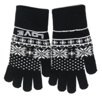 Hot sale 100%Acrylic Knitted Jacquard pattern customized logo funky fashion warm winter Magic Gloves