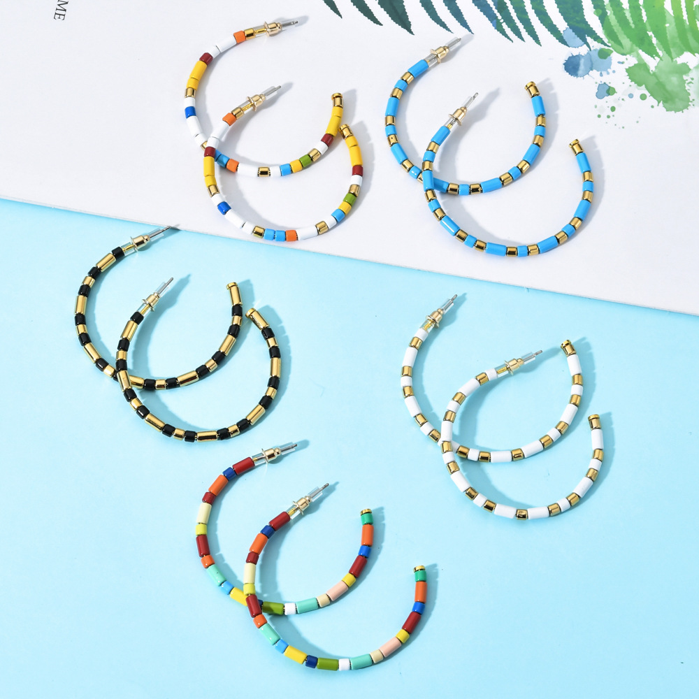TZM003 Trade assurance 2020 colorful Lite Enameled Hoop Earring Handmade Rainbow Tube Tile C shape open Earring women jewelry