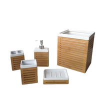 Bamboo Material Factory Offer Ceramic Bamboo Bathroom Accessories Sets Bath Brushes