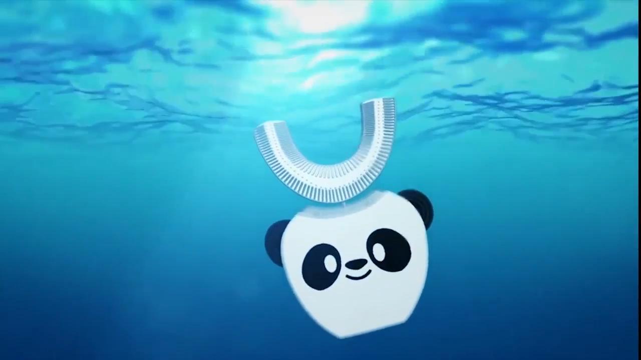 2020 Nieuwe Ontwerp Draadloze Lading Ultrasone U-Vormige Silicone Soft Kinderen Elektrische Tandenborstel Voor Thuis En Reizen