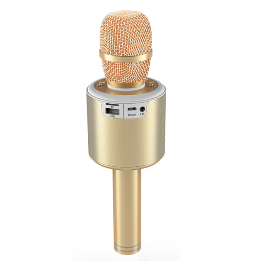 Gainstrong 1200mAh handheld bluetooth karaoke microphone support karaoke microphone toy and holder for karaoke microphone