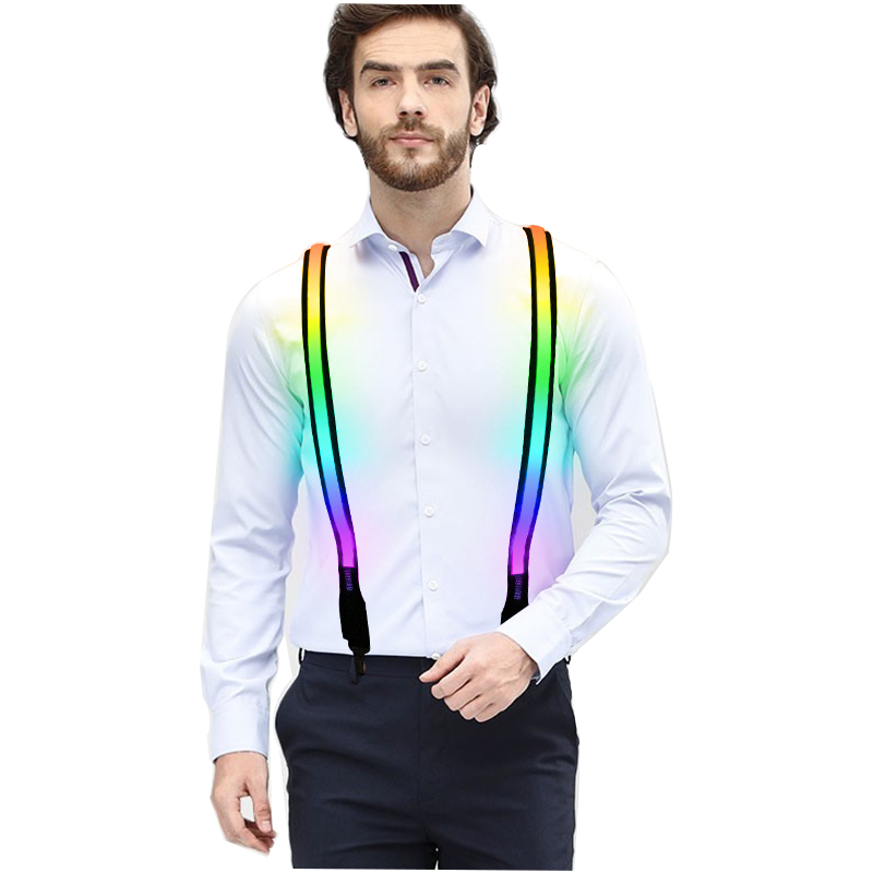 Custom colorful nylon flashing led <strong>suspenders</strong> for party