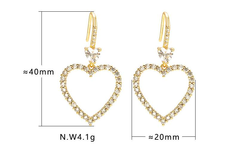 2020 Latest Designs Women Luxury Jewelry Girls Diamond Heart Shaped Drop Dangle Hook Earrings CZ Pave Crystal Heart Earrings