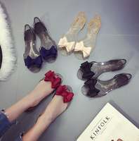 PVC Jelly Shoes With Bow Fashion European Design Ladies Jelly Shoes Cheap PVC Shoe Flat Sandals for Women
