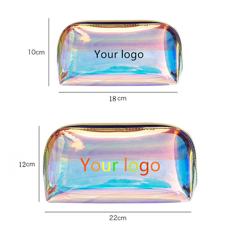 50 pcs custom logo transparent TPU Holographic cosmetic bag bolsos maquillaje Personalized laser pvc makeup bag <span style=