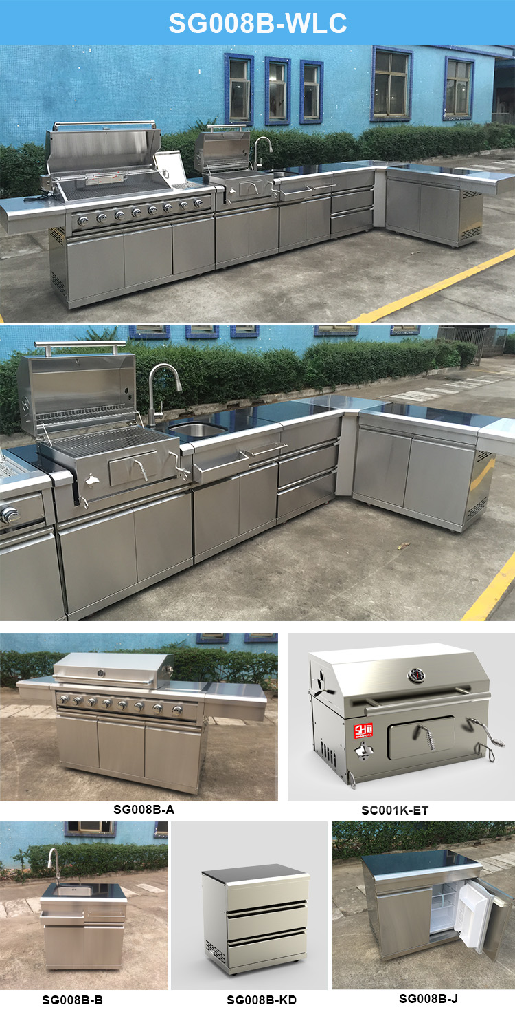 New style commercial bbq islands design stainless outdoor kitchen with sink and gas grill
