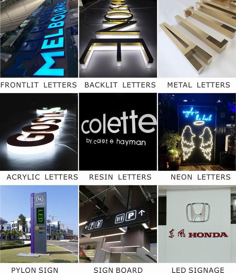 Venta al por mayor de acrílico iluminado alfabeto letra signo personalizado gran 3d de plástico letras de acrílico para señalización