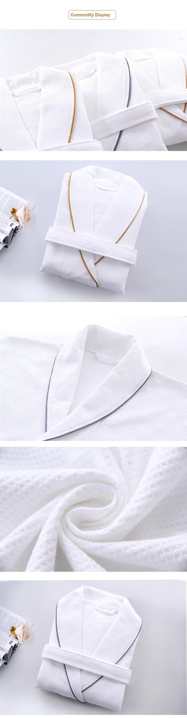 spa white bathrobe luxury cotton bathrobe custom waffle cloth kimono robe for women/men