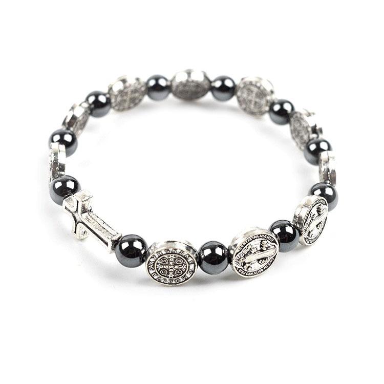 christian bracelets Saint Benedict Beads Blessed bracelets for men prayer beads bracelet silver cross bracelet