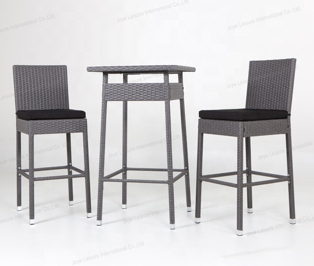 3pcs Steel Frame Rattan Outdoor Patio Furniture Bar Set With Table and Chairs