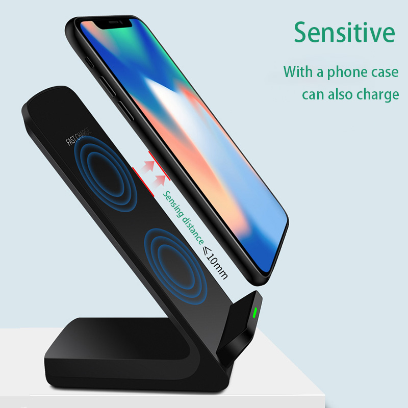 2020 New Qi Wireless Charger 10W Double Coils Wireless Charging Stand Travel Charger Adapter