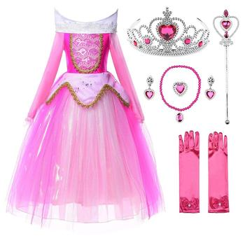 Market Wholesale Princess Aurora Dress Sleeping Beauty Costume Cosplay Girl Party Dress
