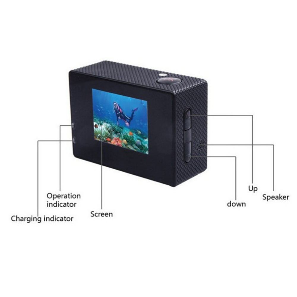 Outdoor Sport Action Camera Mini Underwater Waterproof Sport Cam Color Screen Water Resistant Video Camera for Surveillance