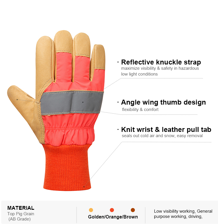 Hi-vis winter reflective strap top pig grain leather industrial working hand safety glove