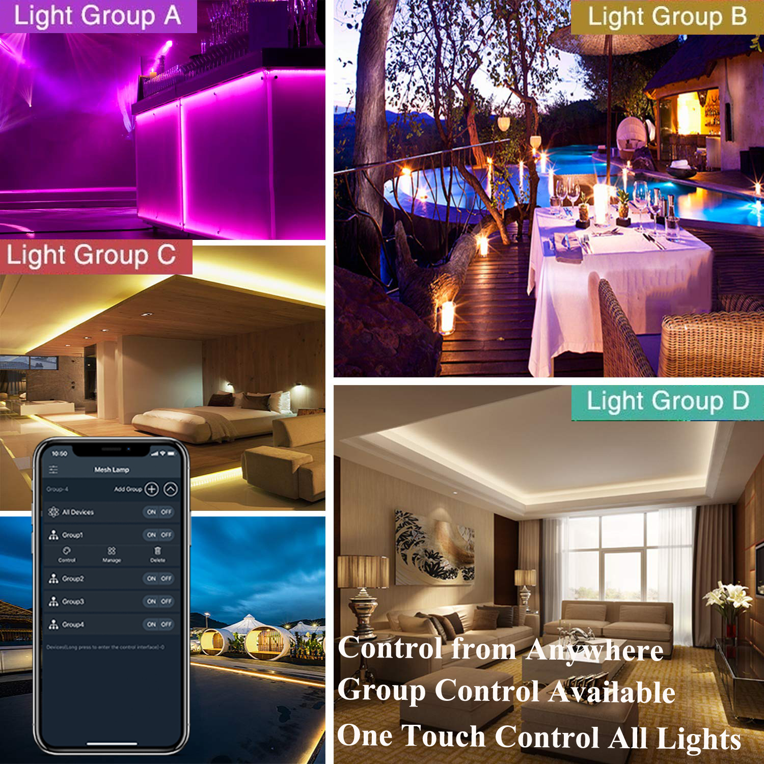 Mesh Mobile Phone Control Dimmable Flexible Waterproof RGB SMD 5050 150 LED Strip Lights with BT Mesh Led Strip Light