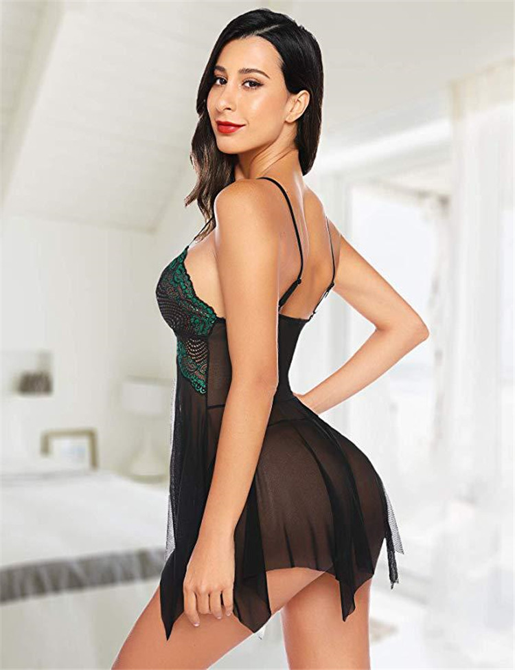 Eco-Friendly Hot Selling Nuisette Sexy Lingerie One Piece Lace Babydoll Lingerie Pajamas