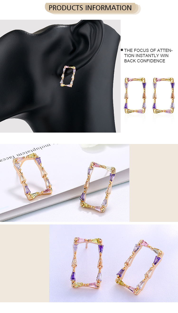Factory Wholesale New Fashion 14K Gold Plated Diamond Bling Pierced Colorful Geometric Rectangle Stud Earrings