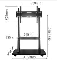 1040-1660 millimetri vesa 830x605mm LCD Mobile TV trolley pavimento tv carrelli con
