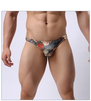wholesale printed mens milk silk soft panties sexy polyester brief
