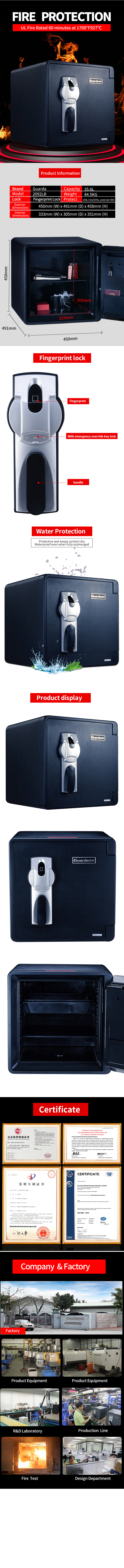 Guarda 2096lbcbd fireproof safe box for sale for business-11