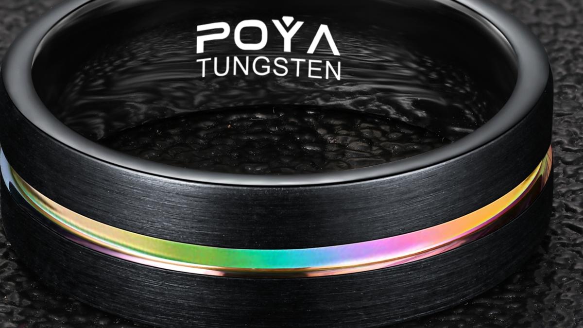 Para 8mm negro anillo de carburo de tungsteno acabado mate de Color de arco iris de borde biselado de la boda banda