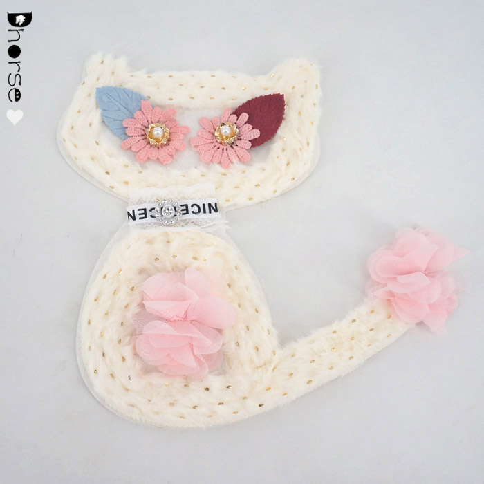 New fashion sew on beaded embroidery lace applique for clothing